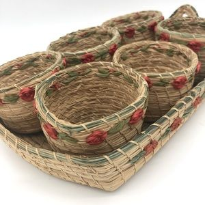 Set of 6 mini vtg woven rattan baskets with tray